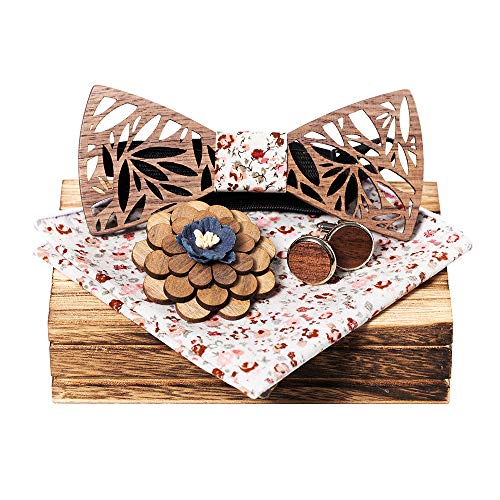 KOOWI Juego de Pajarita de Madera para Hombre Hecho a Mano clásico con bufanda cuadrada, Gemelos, Broche y Caja de Regalo (C1)