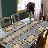 Samaaya® Best Export Quality Jacquard Cotton Dining Table Mats 6 Pieces with Runner - Set of 7 ( Mats- 13