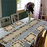 Samaaya® Best Export Quality Jacquard Cotton Dining Table Mats 6 Pieces with Runner - Set of 7 ( Mats- 13