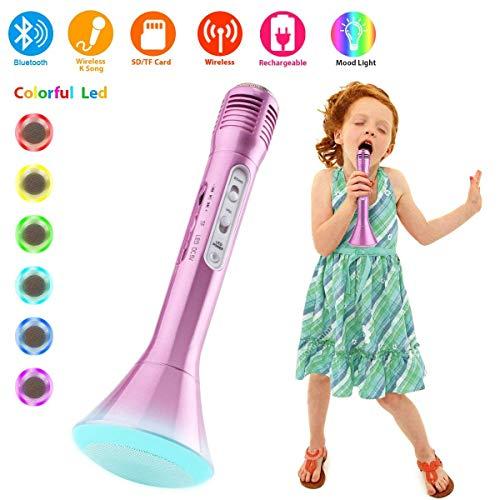 Microfono Inalambrico Bluetooth, Micrófonos Inalámbricos Microfonos Karaoke Portatil con Altavoz Grabadoras, Microfonos Instrumentos Musicales para iPad iPhone Smartphone Android PC Niños Infantil