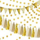 Decoración de Fiesta Oro Guirnalda de Borlas de Papel de Seda Banner Banderas Brillantes del Triángulo Verderón Guirnalda Oro con Purpurina de Circulares para Baby Shower, Decoraciones de Cumpleaños