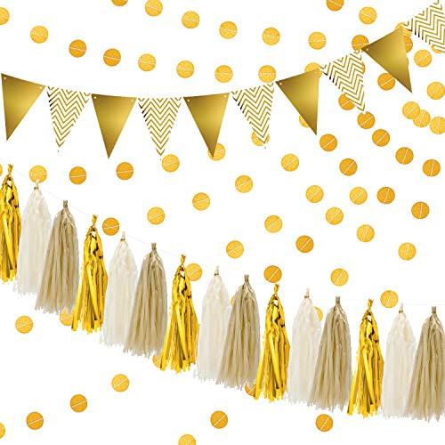 Gold Party Dekorationen Seidenpapier Quasten Girlande Glitzernden Dreieck Fahnen Banner Kreis Punkte Papier Glitter Gold Girlande Bunting für Baby Dusche, Geburtstag Dekorationen