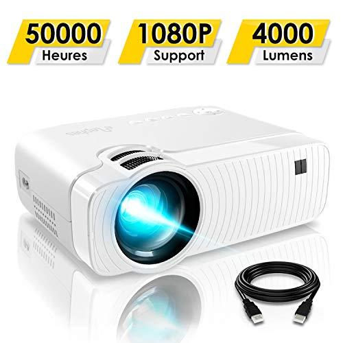 Mini Vidéoprojecteur, ELEPHAS 4000 Lumens Projecteur Portable Soutien 1080P Rétroprojecteur Compatible USB/HD/SD/AV/VGA pour...