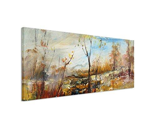 Panorama Fotoleinwand 120x40cm Ölgemälde - Bäume am Wasser auf Leinwand exklusives Wandbild moderne Fotografie für ihre Wand in vielen Größen