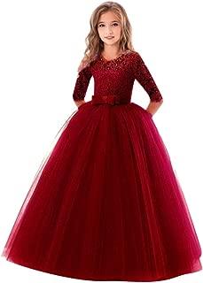 HOSOME Child Girls Lace BowknotPrincess Wedding Performance FormalTutu Dress Clothes