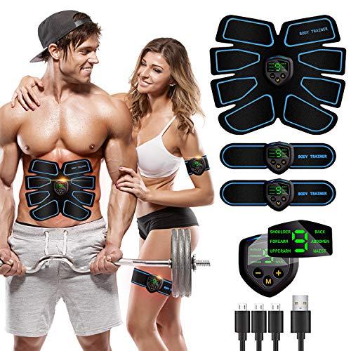 MATEHOM Elettrostimolatore Muscolare, Elettrostimolatore per Addominali, EMS Stimolatore Muscolare, USB Ricaricabile ABS Trainer/Toner per Addome/Braccio/Gambe/Waist/Glutei Home Gym-Uomo/Donna