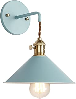 iYoee Wall Sconce Lamps Lighting Fixture with on Off Switch,Blue Macaron Wall lamp E26 Edison Copper lamp Holder with Frosted Paint Body Bedside lamp Bathroom Vanity Lights