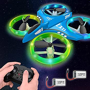 Dwi Dowellin 4.9 Inch Mini Drone for Kids LED Night Lights One Key Take Off Landing Flips RC Remote Control Small Flying Toys Drones for Beginners Boys and Girls Adults Nano Quadcopter Blue