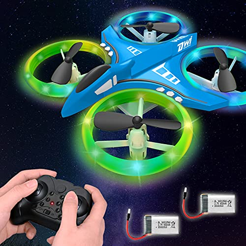 Dwi Dowellin 4.9 Inch Mini Drone for Kids LED Night Lights One Key Take Off Landing Flips RC Remote Control Small Flying Toys Drones for Beginners Boys and Girls Adults Nano Quadcopter, Blue