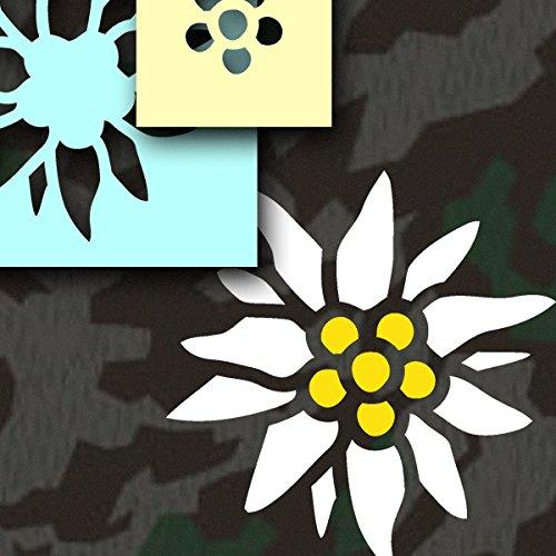 Copytec * Lackierschablonen Aufkleber - Edelweiss Lackierschablonen Aufkleber Stencil Schablone für 2 Farben Gebirgsjäger Bergsteiger Bundeswehr Auto Miltär Fahrzeug (15x15cm) #A470
