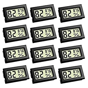 Mini Thermometer, Digital Refrigerator Freezer Thermometer with LCD Display Fahrenheit (?) Thermometer Hygrometer for Humidors, Greenhouse, Garden, Cellar, Fridge, Closet (12 Pack)