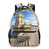 Ocio mochila para las mujeres de los hombres de los niños del morral del recorrido del monedero, Torre de Belem famoso monumento de Lisboa Portugal All Seasons unisex de gran capacidad durable de esc