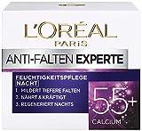 L'Oréal Paris Anti-Falten Experte Nachtcreme 55+, Anti-Age Feuchtigkeitspflege mit Calcium, mildert tiefere Falten, regeneriert die Haut tiefenwirksam über Nacht, 50ml