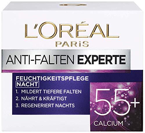 L'Oréal Paris Nachtpflege für das Gesicht, Feuchtigkeitspendende Anti-Aging Nachtcreme mit Calcium zur Minderung von Falten, Anti-Falten Experte 55+, 1 x 50 ml
