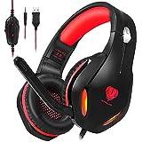 Stynice Auriculares Gaming, Auriculares PS4 con Microfono Compatible con PS4/PC/Xbox One/Laptop/Mac/Mobile - Auriculares para estéreo Juegos con Cable Jack de 3.5 mm y luz LED (Rojo)