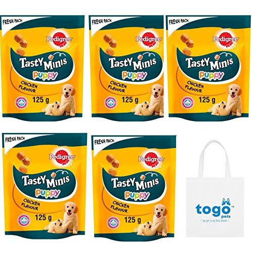 Tasty Minis – Cubos masticables con pollo, paquete de 5 x 125 g + bolsa para caminar para perros. Ideal como regalo para perros ✅