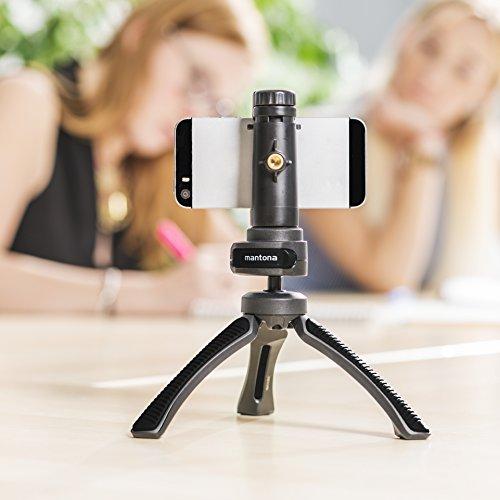 Mantona kaleido Gaia leichtes Mini Tisch und Handstativ (geeignet für Spiegelreflex, Digitalkameras und Camcorder) night black