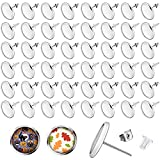 300 Pieces Stud Earring Kit Includes 100 Pieces 12 mm Stainless Steel Blank Stud Earring 100 Pieces Rubber Backs and 100 Pieces Stainless Steel Earring Backs for DIY Earring Making (Silver)