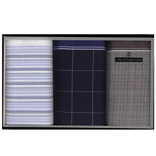 Lindenmann Handkerchiefs for men, 3-pack, blue-grey, 50023-001