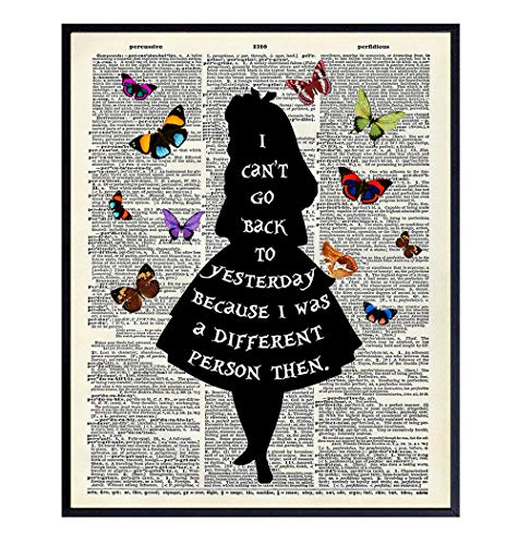 Alice in Wonderland Quote Dictionary Art Print - Upcycled Home Decor, Wall Art Poster - Unique Room Decorations for Bedroom, Office, Girls or Kids Room - Gift for Disney Fans - 8x10 Photo Unframed