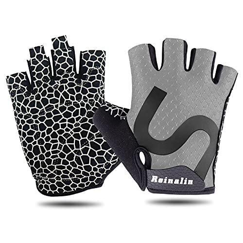 Reinalin Fahrradhandschuhe Herren Sommer,MTB Handschuhe für Mountainbike Rennrad,Fingerlose Handschuhe für Herren Damen und Kinder