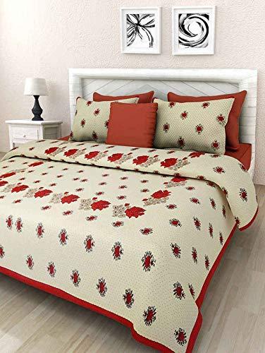Urban Trends Rajasthani 100% Cotton Jaipuri Sanganeri Traditional King Size Bedsheet with 2 Pillow Cover