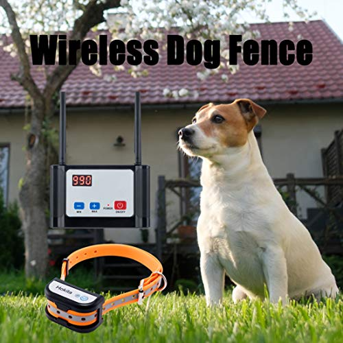 Hokita Dog Fence Wireless,Outdoor Electric Pet Containment System,with Waterproof and Rechargeable Training Collar Receiver Dog Boundary Container (DeepBlack)