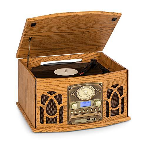 auna NR-620 Dab Equipo estéreo - Tocadiscos con 33 y 45 RPM, Lector de CD, Grabadora de Cassettes, Radio, Bluetooth, Puerto USB, Fácil de Grabar y Lee CD, CD-R/RW y MP3, Diseño de Madera, marrón