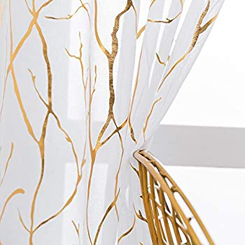 Kotile Gold White Sheer Curtains - Metallic Gold Foil Printed Tree Branch Curtains Grommet Top Window Light Filter Curtains 84 Inch Length 52 x 84 Inches 2 Panels White Gold