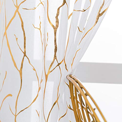 Kotile Gold Branch White Sheer Curtains - Metallic Gold Foil Tree Print Curtains 95 Inch Long Light Filter Grommet Sheer Curtains for Living Room, 52 x 95 Inch, 2 Panels, White Gold