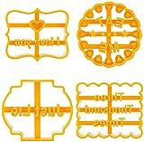 4 moldes para galletas con buenos deseos, divertidos moldes para hornear galletas para hornear, letras y formas, moldes para galletas para hornear galletas para cocina DIY (juego de 2)