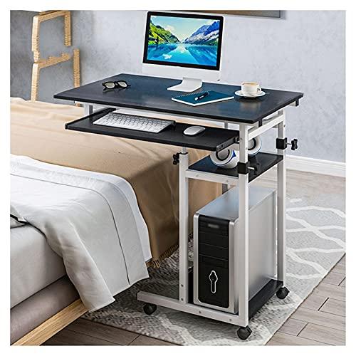 Mesa de trabajo para computadora sobre la cama, portátil, escritorio, altura ajustable, sofá cama, extremo lateral, mesa de lectura con ruedas con ruedas y estantes de almacenamiento, mesa portátil