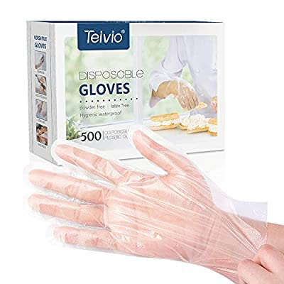 Disposable Gloves, Plastic Gloves for Kitchen Cooking Cleaning Safety Food Handling, Powder and Latex Free by Teivio