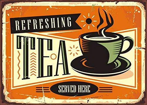 HNNT Metallschild für Tee, Kaffee, Shop, Vintage, Vintage-Stil, 20,3 x 30,5 cm