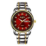 Reloj para Hombres Reloj Impermeable para Hombres Cinturón De Acero Calendario Doble Reloj De Cuarzo Reloj Retro Reloj No Mecánico Cinturón Dorado
