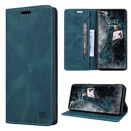 GANKER Handyhülle für Samsung Galaxy S10 Plus Hülle Premium Leder [RFID Schutz] Flip Hülle Magnetisch Klapphülle Lederhülle TPU Bumper Schutzhülle für Samsung Galaxy S10 Plus Hülle - Blaugrün