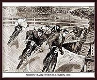 ポスター アーティスト不明 Women Track Cyclists 1898 額装品 ウッドベーシックフレーム(ブラウン)