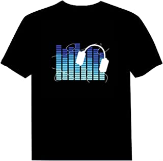 Pawant Adult Couples Audio Control LED Flashing Night Club Wear Cotton T-Shirt Blue Note XS