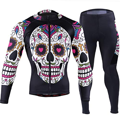 SLHFPX Mens Cycling Jersey Mexican Sugar Skull Black Full Sleeve Outdoor Bike Shirt Pad Pants Outfit