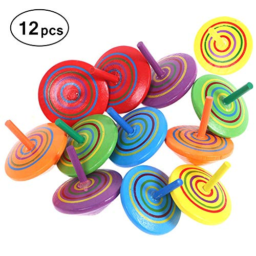 Sale!! Minelife 12 Pieces Multicolor Handmade Wood Spinning Top Toys, Wooden Gyroscopes Toy Painted ...