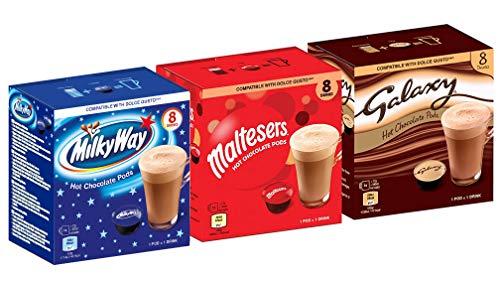 CaffeLuxe Galaxy, Milky Way & Maltesers Hot Chocolate - 8 vainas de cada sabor: vainas compatibles con Dolce Gusto