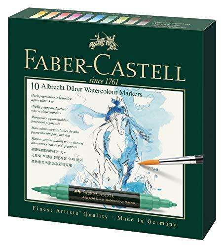 Faber-Castell 160310 - Marcatore ad acquerello Albrecht Dürer con doppia punta per colori precisi e superficiali, astuccio da 10 pezzi, multicolore