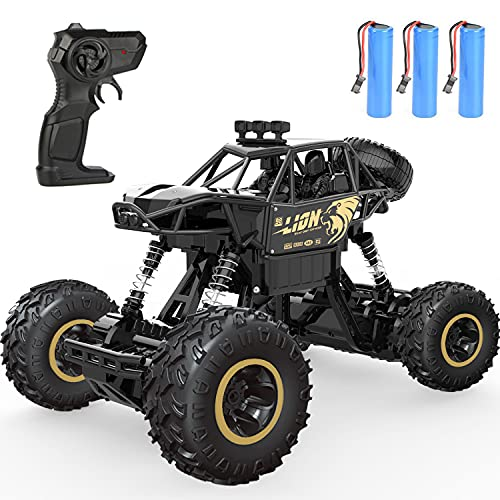 4D C3 RC Cars,2.4Ghz Remote Control Car,Off Road Monster Truck, Metal Shell Car 4WD Dual Motors, All Terrain Hobby Truck with 3 Batteries for 120 Min Play 6 12 Boy Adult Gifts Toys,Black