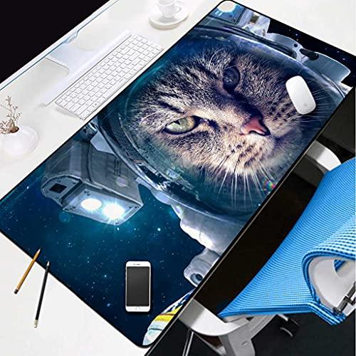 NZTCRFP Alfombrilla De Ratón Gaming Gato Astronauta Espacial Alfombrilla De Escritorio 900X400X3MM,...