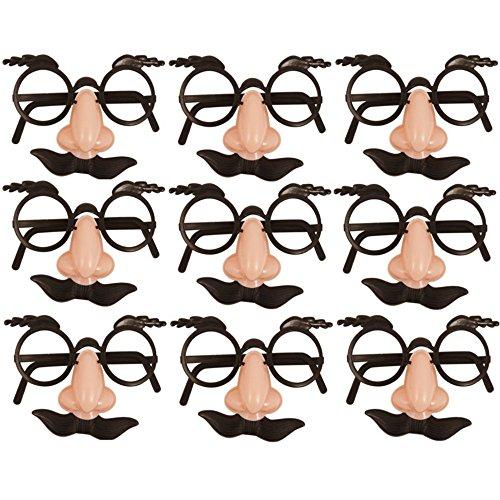German Trendseller 12 x Spaß Brillen mit Nase + Bart ┃ Dude ┃ Opa ┃ Professor ┃ Fasching ┃ Karneval ┃ Party Nasen ┃ 12 Stück