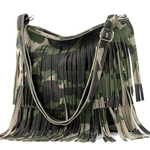 modamoda de - T125 - ital Schultertasche Fransen Wildleder, Farbe:T125 Camouflage
