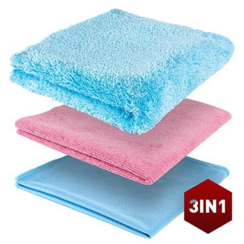 ULTIMATE CLEAN - Premium Mikrofasertücher, 3 in 1 Reiningungsset für die perfekte Autopflege Innen & Außen, Ultra weiche & Saugstarke Poliertücher, Putzlappen, 43 x 43