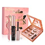 Brightup Magnetic Eyelashes with Eyeliner Kit, 3 Pairs 3D Natural Look Reusable False Magnetic lashes, Long Lasting Waterproof Magnetic Eyeliner, Twinkle Mirror Box with Tweezers, Ideal For Gift