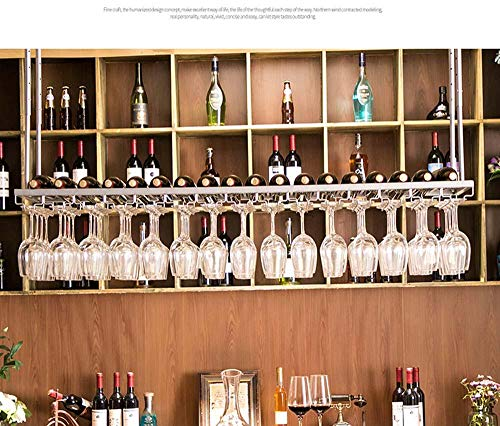 FFJJQAN Botellero de Madera Vintage de Hierro Forjado,Estante de Vidrio Colgante Colgante de Barra, Estante de Vino, Estante de Vidrio de Vino Dorado, Estante de Vino al revés-Plata_60 CM * 30 CM