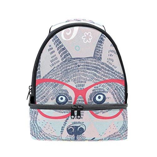 tizorax Husky Hipster Hund in Gläser Lunch Bag Isolierte Lunch Box Picknick Tasche Schule Kühltasche für Männer Frauen Kinder